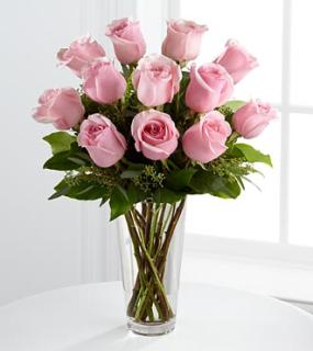 A Dozen Long Stem Pink Rose Bouquet