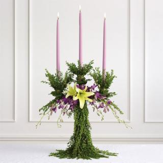 Greenery Candelabra Altar Arrangement