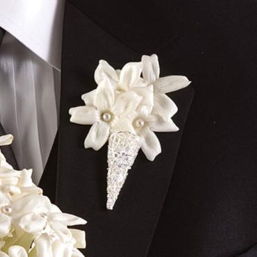 Stephanotis and Pearl Boutonniere