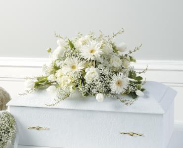 Little Prayers small white casket spray