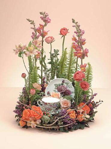 Wreath with Teacup & Saucer