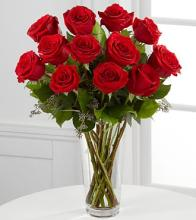 A Dozen Long Stem Red Rose Bouquet