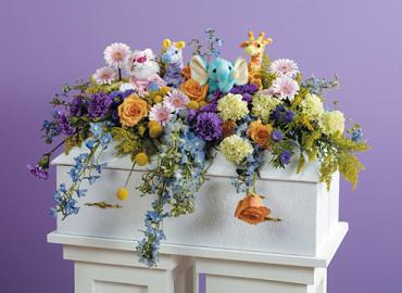 Plush Animal Infant Casket Spray