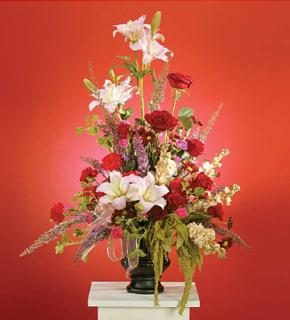 Red and Pink Arrangement with Lilies