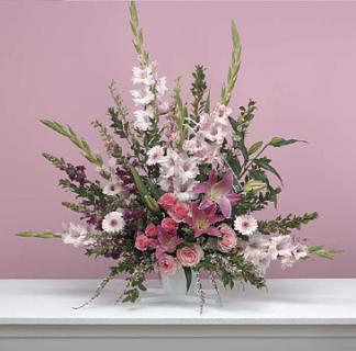 Traditional Pink Fan Arrangement